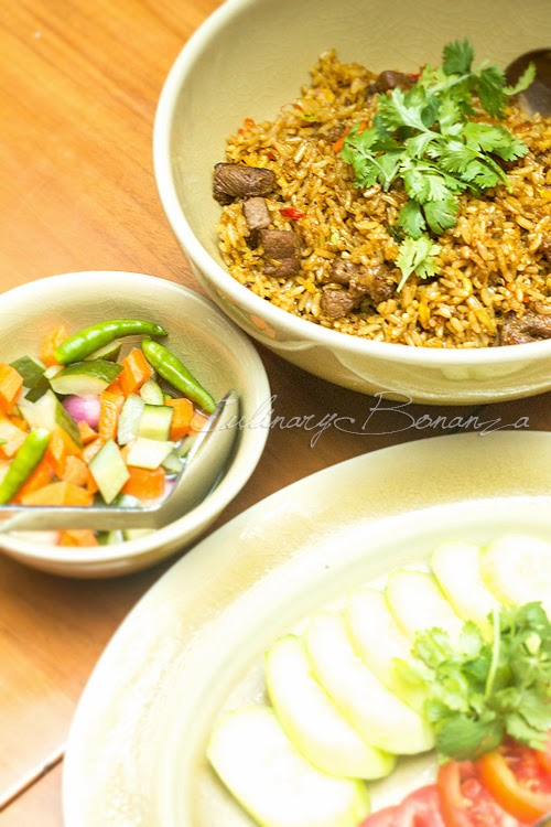 C's Lamb Fried Rice with condiments (Acar & Lalapan)