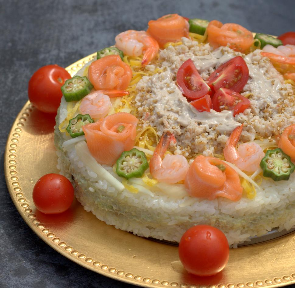 sushi cake for my friend s birthday party 8inch sushi cake 3cup sushi ...