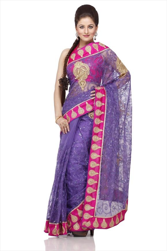 Violet Net Saree