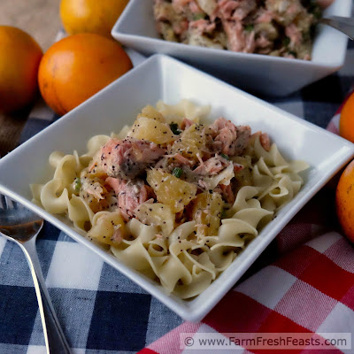 A recipe for salmon and fresh oranges in a poppy seed vinaigrette, served over hot pasta. The bright and fresh flavors of this dish lighten up the dark winter days.