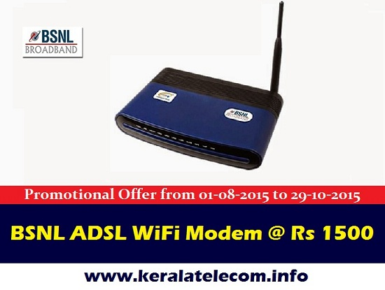BSNL slashes sale price of ADSL WiFi Modem in all the circles from 1st August 2015, Now setup your own WiFi Zone @Rs 1500