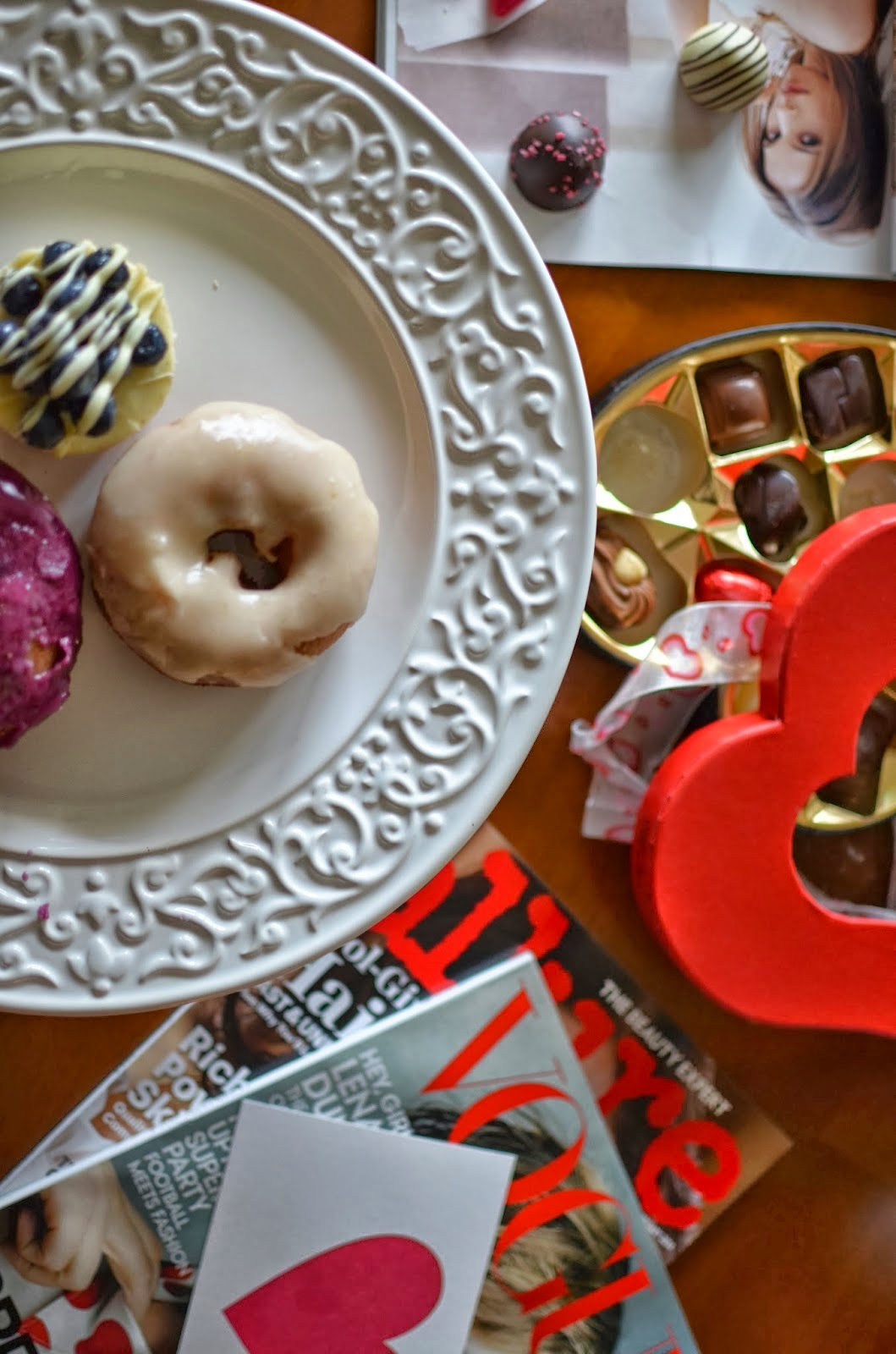 Valentine's Day prep, Valentine's day, red and pink, Vogue, sweets, donuts, chocolates