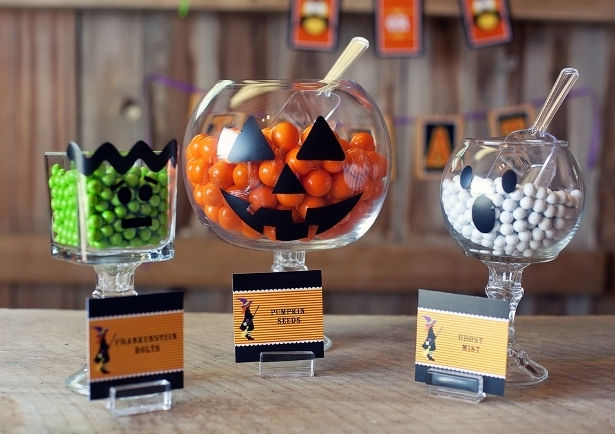 Halloween party decor candy bowls