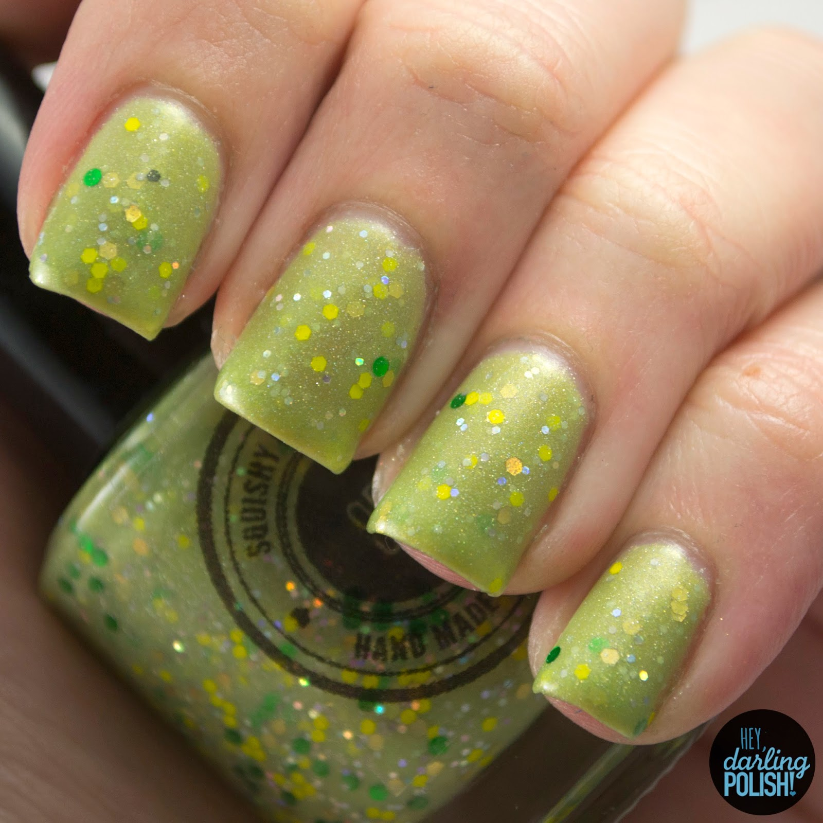 green, electric eel, glitter, nails, nail polish, indie, indie polish, indie nail polish, hey darling polish, swatches, swatching, squishy face polish