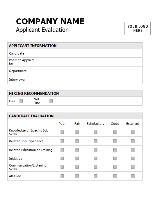 applicant assessment form template sle