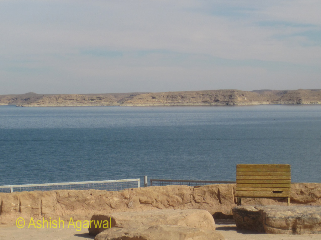 Blue water of Lake Nasser, as seen from the edge of the Abu Simbel compound