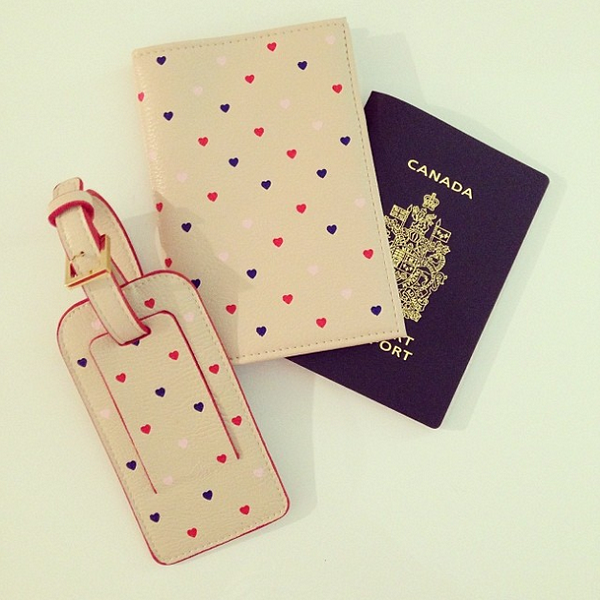 Heart print passport cover and luggage tag from Chapters Indigo