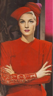1940s Red #40s #fashion #red #turban #vintage #dress #1940s