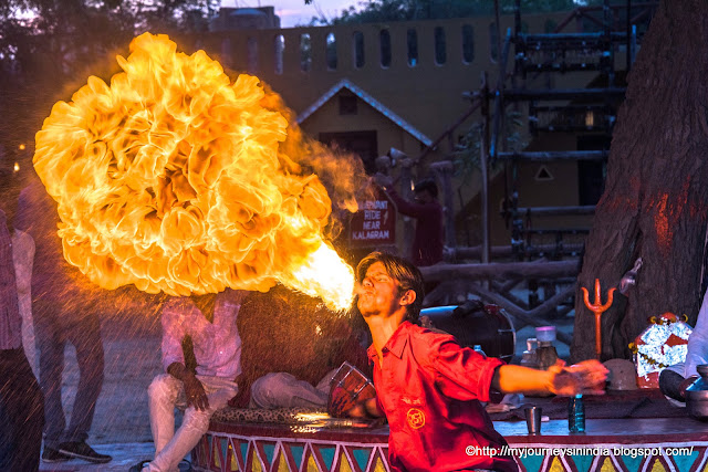 Fire play at Chokhi Dhani Jaipur