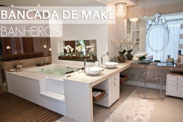 25 Banheiros com bancadas de maquiagem  veja modelos lindos e modernos!   -> Pia Banheiro Profundidade
