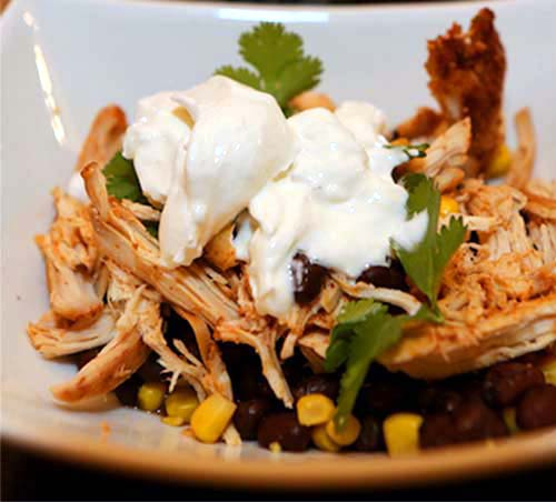 Slow Cooked Chicken Taco Salad