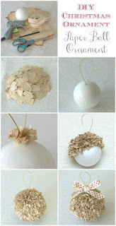 bolas de natal feitas com papel jornal