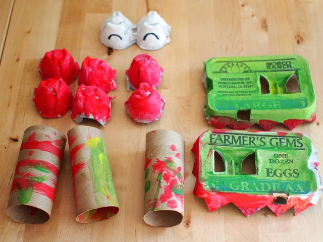 egg cartons and toilet paper roll dragons