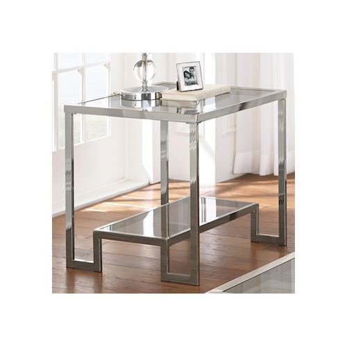 Overstock Cordele Chrome and Glass End Table