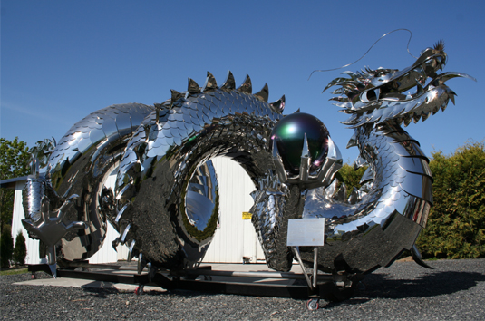 giant dragon steel art by kevin stone