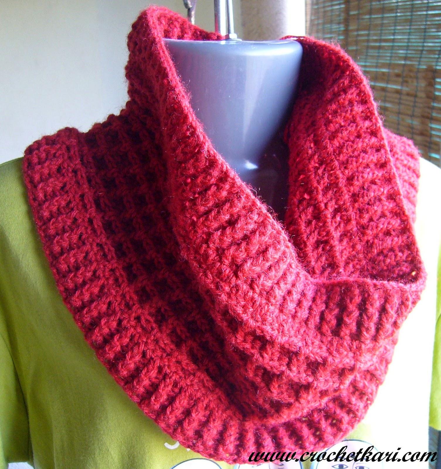 crochet waffle stitch cowl pattern