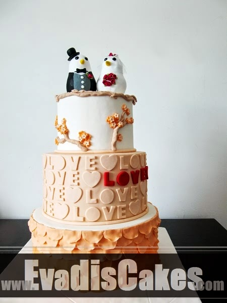 Pastel orange wedding cake in overall view