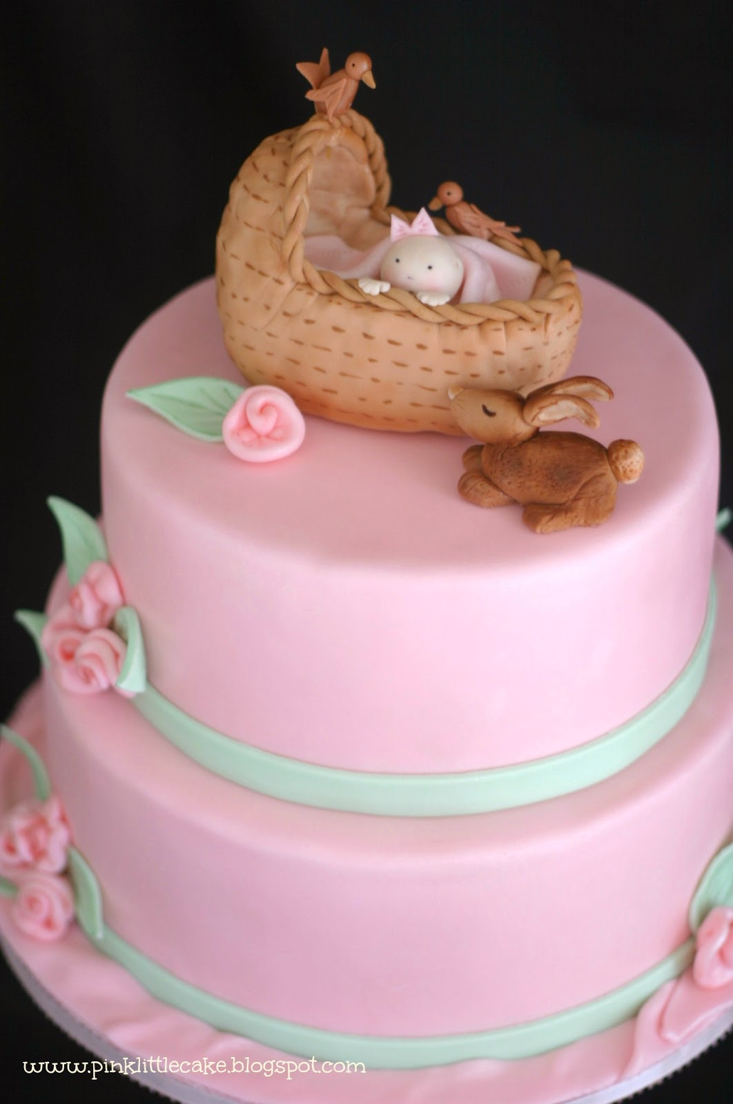 my pink little cake baby shower cake with bassinet cake topper