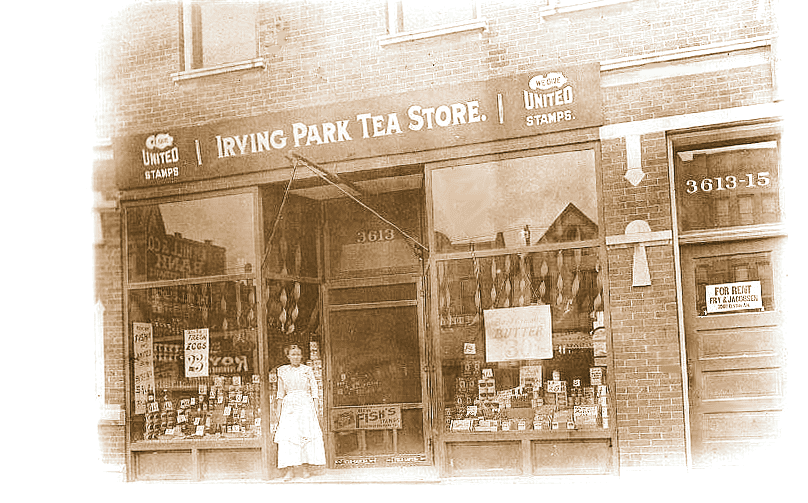Postcard chicago irving park tea store 3613 irving for Irving hotel chicago