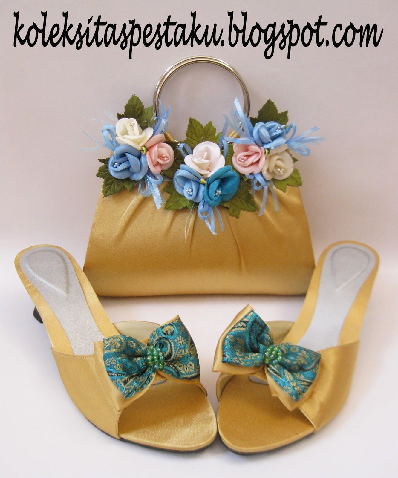 tas pesta dan sepatu perpaduan warna gold dan tosca mewah