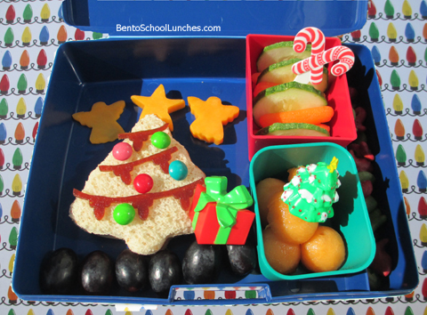 Christmas tree bento school lunches, Laptop Lunches