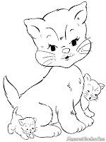 Induk Dan Anak Kucing Bermain Bersama