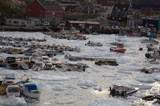 ilulissat harbour covered with ice