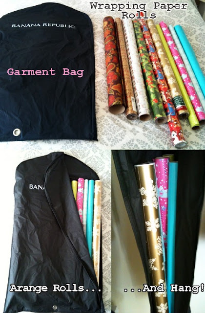Use a garment bag to organize wrapping paper rolls :: OrganizingMadeFun.com