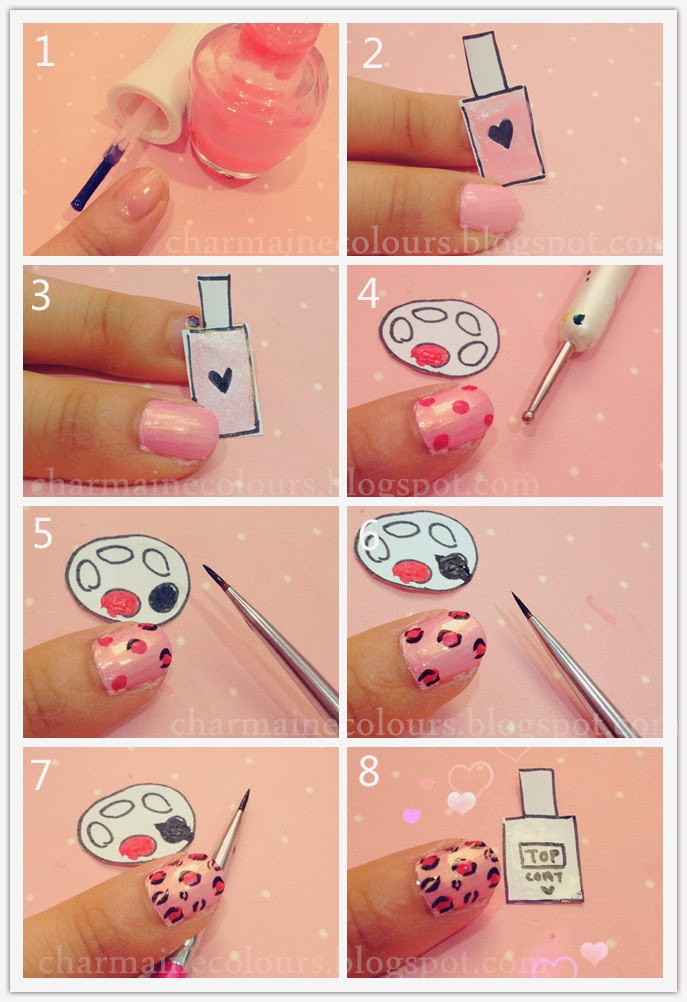 leopard print nails. step by step