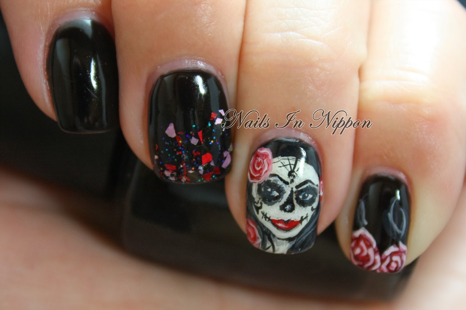 Nails in nippon halloween sugar skull girl prinsesfo Image collections