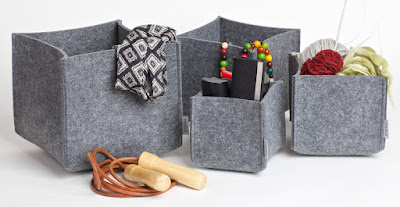 felt boxes, gray, four sizes