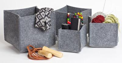 felt boxes, gray, four sizes