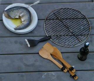 Grill, Bamboo Tongs, Olive Oil, Fish