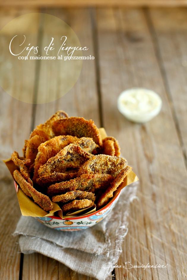 chips di lingua con maionese al prezzemolo