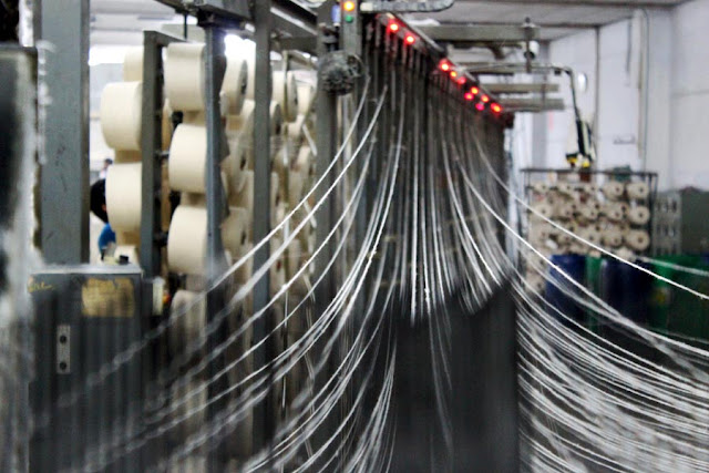 cotton threads in a cotton mill