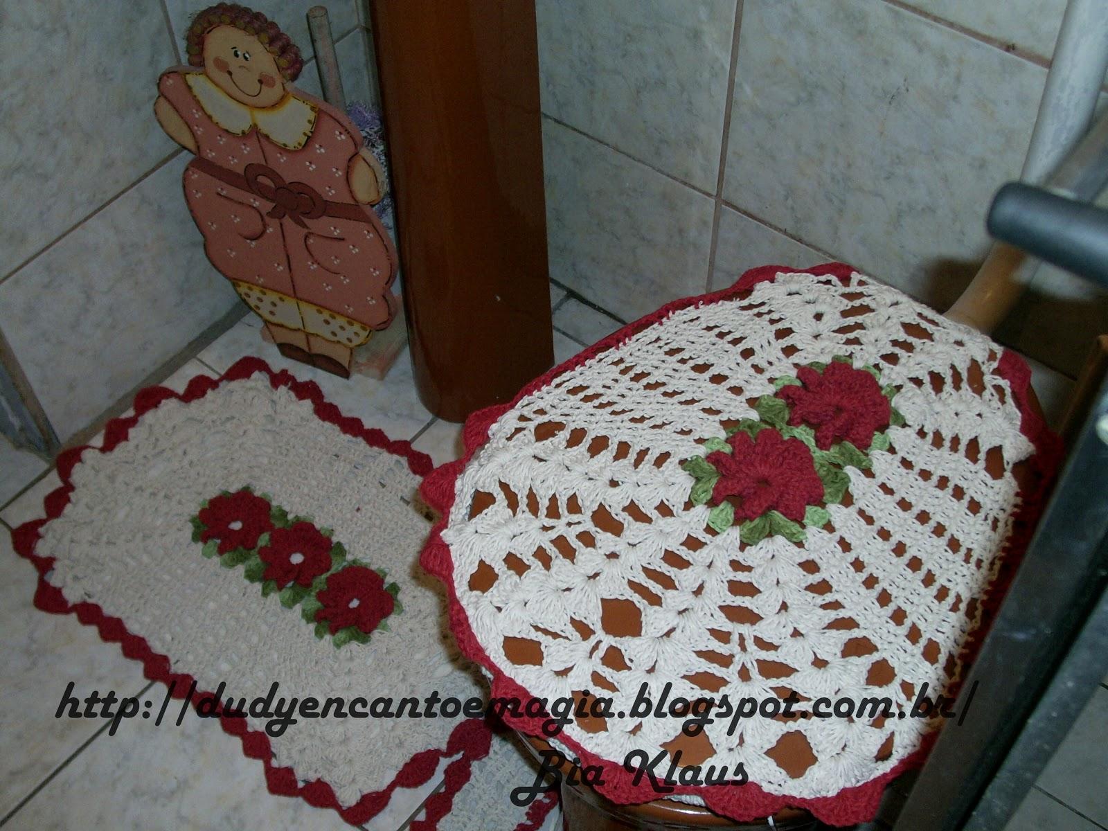 Dudy encanto e magia: jogo de tapetes para banheiro crochê #66322D 1600 1200