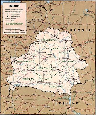 Map of Belarus Region Country