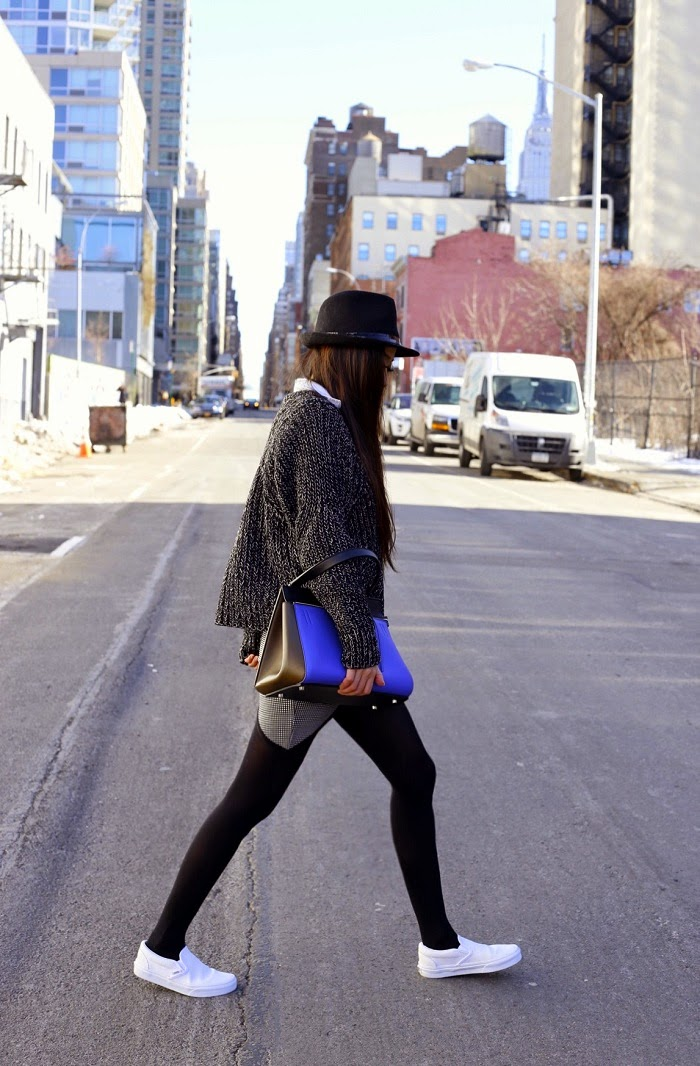 Asilio night vision skirt, celine classic box, vans slip on, asos hat, romwe chunky sweater, baublebar ring, marc jacobs ring, fashion blog, how to look stylish, street style, winter street style, nyc