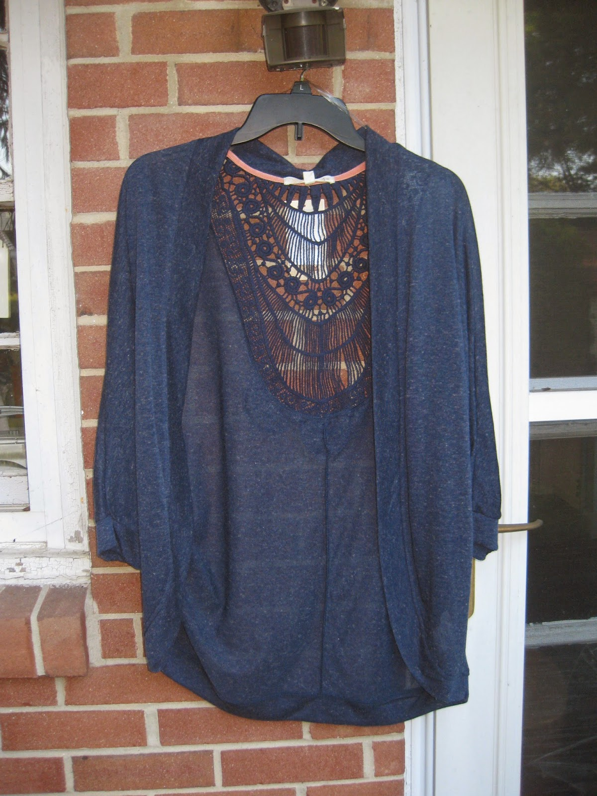 Rewind Navy Blue Unstructured Crochet Cardigan Jacket in Large