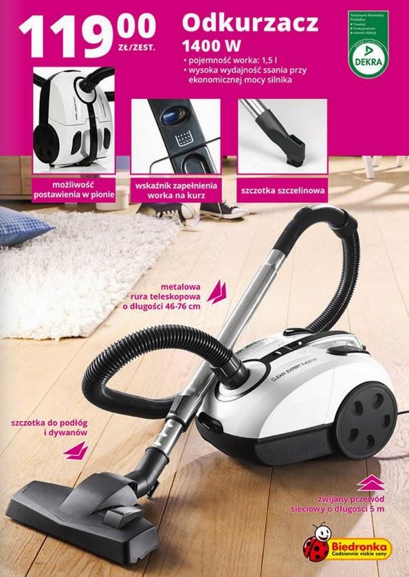 Odkurzacz Clean Expert 1400 W z Biedronki ulotka