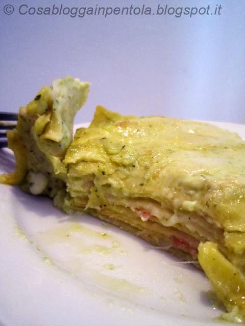 lasagne pesto prosciutto cotto primi primo ricetta cosa blogga in pentolacosabloggainpentola
