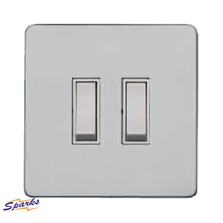 Paintable Twin Screwless Switch, Primed White 2G Switch