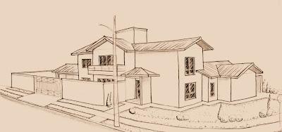 """No primeiro estudo do projeto a porta social estava em posição paralela à rua lateral do lote. Não havia a """"bay-window"""" na fachada principal e o corpo da edícula nos fundos não estava previsto. As linhas gerais do desenho, no entanto, forma determinantes para a sequência do projeto."""