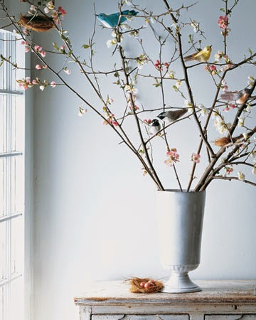 amazing spring decoration with birds on blooming branches