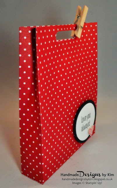 Handmade Valentines Gift Bag using Stampin' Up! Products Side View