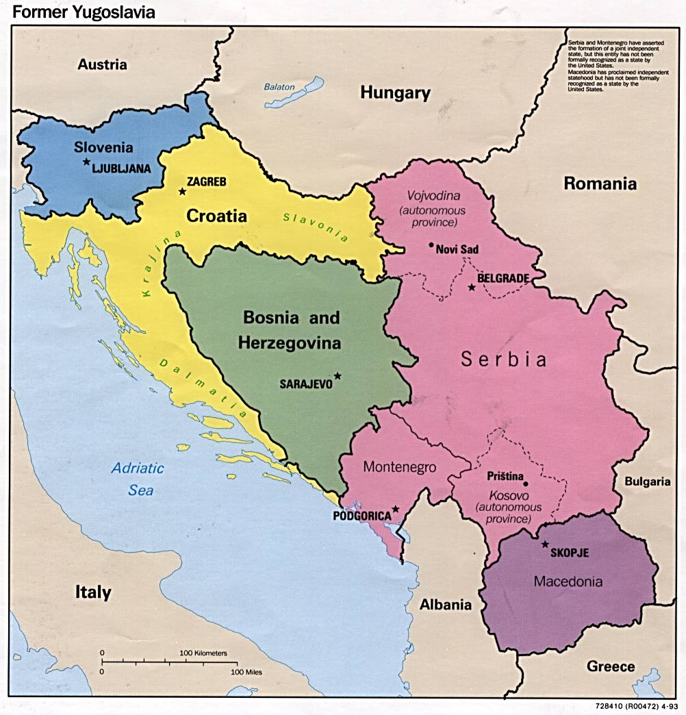 this is a map of all of the yugoslavian countries