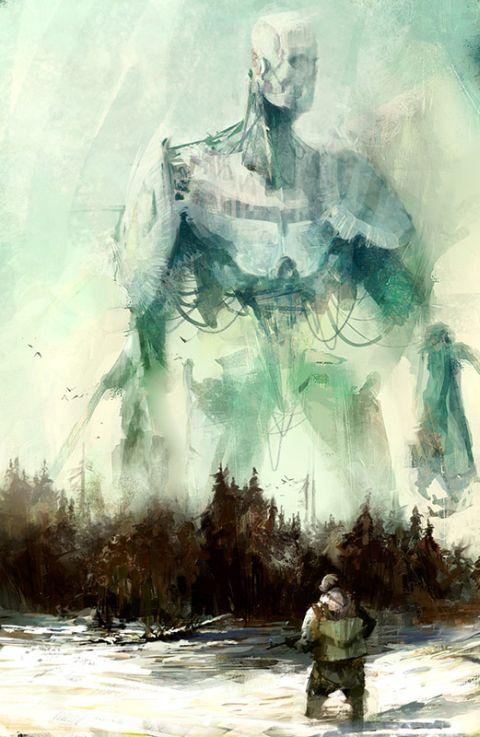 Richard Anderson flaptraps arte conceitual ilustrações pinturas games fantasia ficção científica Robô gigante