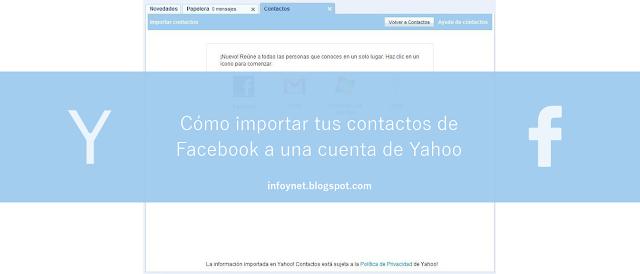 Cómo importar tus contactos de Facebook a una cuenta de Yahoo