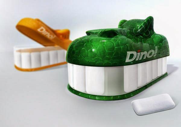 Embalagem de chiclete que simula dentes de dinossauro.