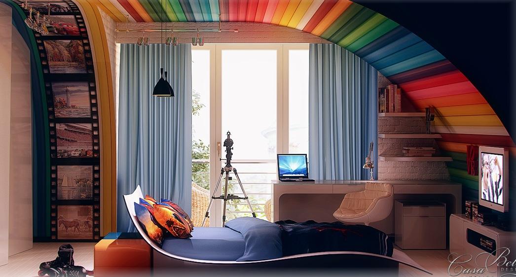 Colorful kids room interior decor ideas interior for Colorful teenage bedroom ideas